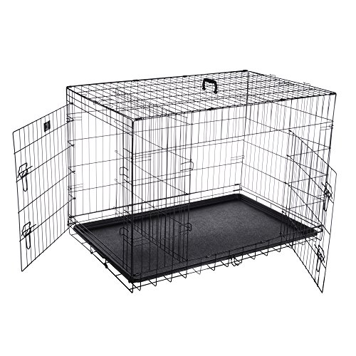 Pet Trex 2193 ABS 42 inch Dog Crate Double Door Folding Pet Crate Kennel for Dogs, Cats or Rabbits, 42