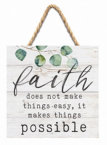 P Graham Dunn Faith Makes Things Possible Whitewash 7 x 7 Inch Wood Pallet Wall Hanging Sign by P Graham Dunn