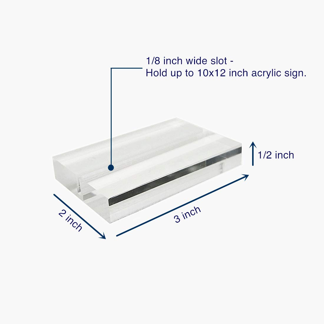 UNIQOOO 3'' Large Clear Acrylic Sign Holders | Wedding Sign Holders |Table Numbers Display Stands | Acrylic Place Card Slot Stand, Perfect for Retail Shop Cafe Events, Set of 20 by UNIQOOO (Image #3)