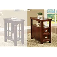 Light Cherry Chair Side Table with 2 Drawers by Poundex
