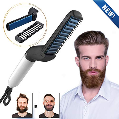(WORD GX Electric Beard Straightener for Men - Professional Quick Styling Comb for Frizz-Free Beard Hair - Ceramic Ionic Heating Control - Portable Brush with Anti-Scald Feature)