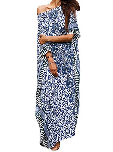 (MeiLing Women's Print Kaftan Nightgown Long Caftans Beach Maxi Dress Bikini Swimsuit Bathing Suit Cover Up Swimwear (Blue A))