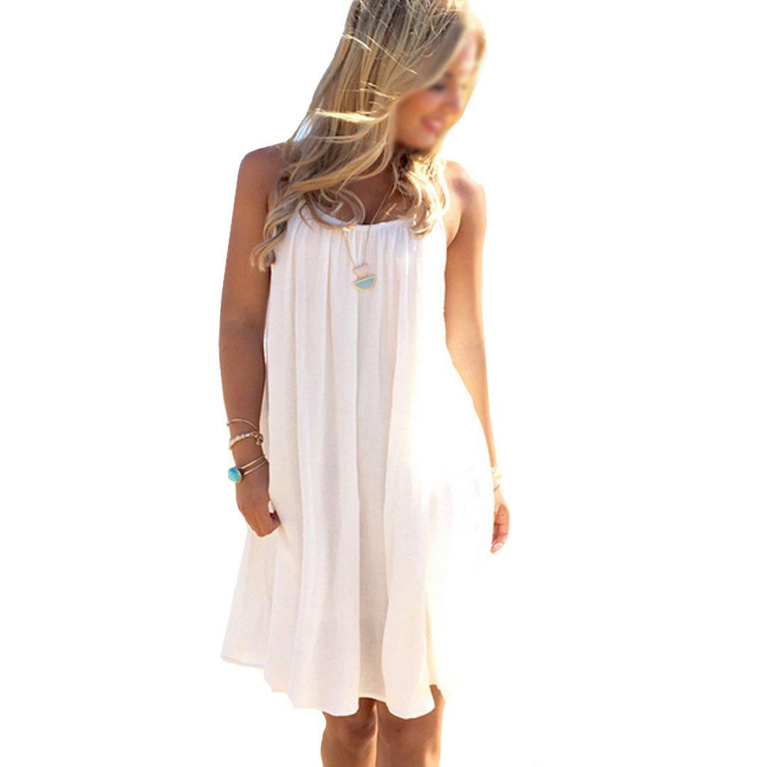 Monique Women Sleeveless Swing Lace Chiffon Sundress Ladies Summer Beach Tank Top Dresses White 2XL