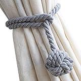 Do4U A Pair of Hand Knitting Curtain Rope Clips Holder Holdbacks Curtain Tieback Curtain Cotton Rope with Single Ball (Grey)