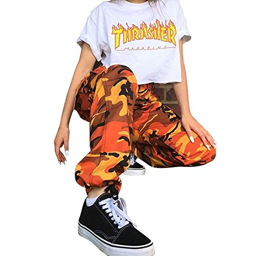DORIC Wholesale Women Sports Camo Cargo Pants Outdoor Casual Camouflage Trousers Jeans M Orange