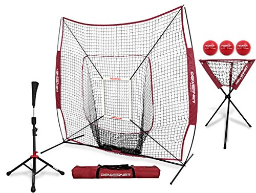 PowerNet 7x7 DLX Practice Net + Deluxe Tee + Ball Caddy + 3 Pack Weighted Ball + Strike Zone Bundle (Maroon) | Baseball Softball Coach Pack | Pitching Batting Training Equipment Set | 7' x 7'