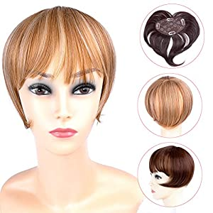 Ty.Hermenlisa Synthetic Clip in Hair Bang Heat Resistant Short Straight Fringe Extensions Top Piece Closure Hairpieces, 1 Pc, 39g, Emma - Dark Brown(#2)