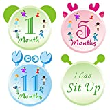Baby Monthly Stickers-24 Baby Milestone Stickers with Animals Ears Design for Newborns Celebrate 0-12 Months Baby First Year Birthday, Holidays Awesome Baby Shower Gift or Scrapbook Photo Keepsake