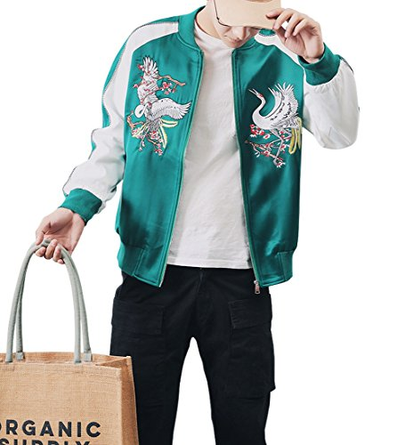 LETSQK Men's Retro Casual MA-1 Air Force Crane Embroidery Baseball Bomber Jacket M -