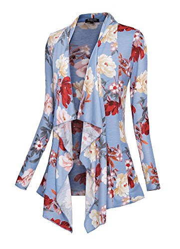Urban CoCo Women's Drape Front Open Cardigan Long Sleeve Irregular Hem (# 2-2, 2XL) by Urban CoCo (Image #6)