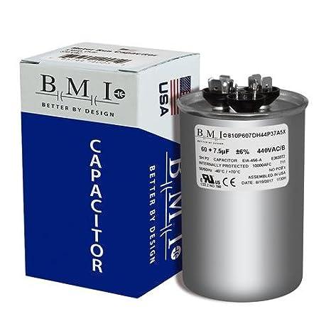 7.5 uF MFD x 440 VAC Genteq Replacement Dual Capacitor Round # C46075R Trane CPT01033 CPT-1033-60 97F9898