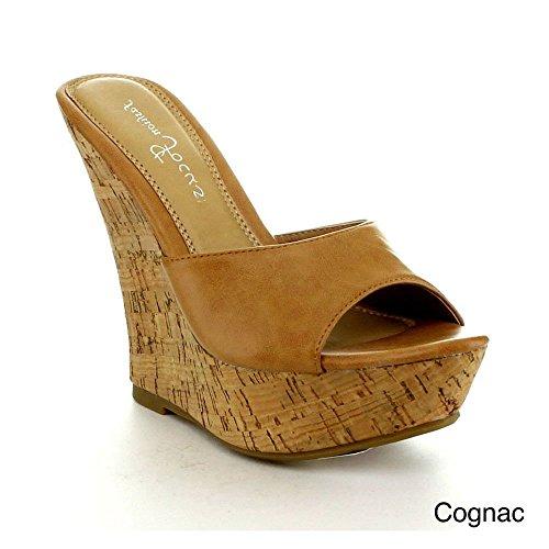 Fashion Focus Womens Ardo-42 Popolare Sandalo Con Zeppa Di Cognac