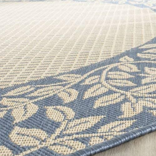 Safavieh Courtyard Collection CY0727-3101 Natural and Blue Indoor Outdoor Area Rug 8 x 11