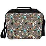 Dog Lover Environmental Lunch Ice Bag,Paw Print Background with Pet Canine Accessories Balls Carry Bags Leash Food Bowl for Travel Picnic,One Size