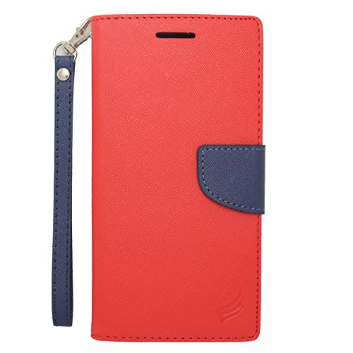 Eagle Cell Flip Wallet PU Leather Protective Case for HTC Desire 816 - Retail Packaging - Dark Blue/Red