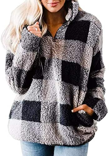 MEROKEETY Women's Plaid Sherpa Fleece Zip Sweatshirt Long Sleeve Pockets Pullover Jacket