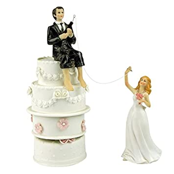 Amazoncom Funny Wedding Cake Toppers Fishing Groom and Bride