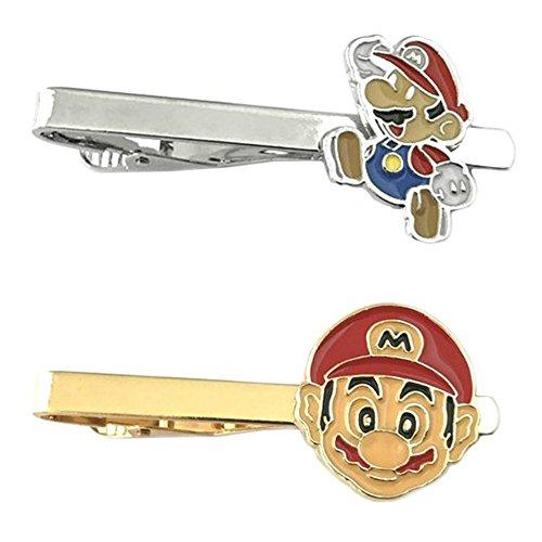 Outlander Video Games - Super Mario Jump & Mario's Face - Tiebar Tie Clasp Set of 2 Wedding Superhero Logo w/Gift Box by Outlander