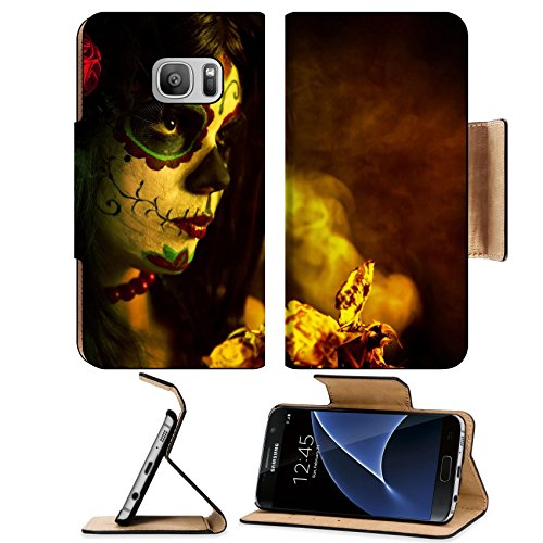 [MSD Premium Samsung Galaxy S7 Flip Pu Leather Wallet Case IMAGE ID: 10546187 Artistic shot of sugar skull girl with dead roses selective focus on rose] (Sim Character Costume)