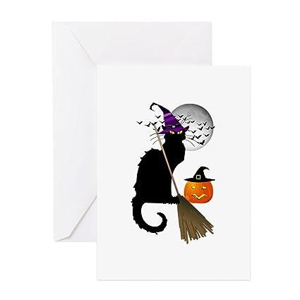 CafePress - Le chat noir - bruja Halloween tarjetas de ...