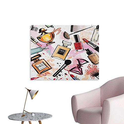 Anzhutwelve Girls Wallpaper Cosmetic and Makeup Theme Pattern with Perfume Lipstick Nail Polish Brush Modern Lady Poster Print Multicolor W48 xL32 (Poster Modern Picasso)
