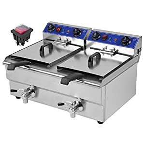 Belovedkai Electric Deep Fryer, 13L/26L Stainless Steel Commercial Electric Deep Fat Fryer Temperature Control Timing Fryer with Drain & Basket,Single Tank/Dual Tank (26L Double Basket)