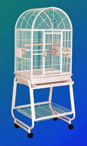 HQ 22x17 Dome Top Bird Cage and Rolling Stand w Shelf Black by Hq
