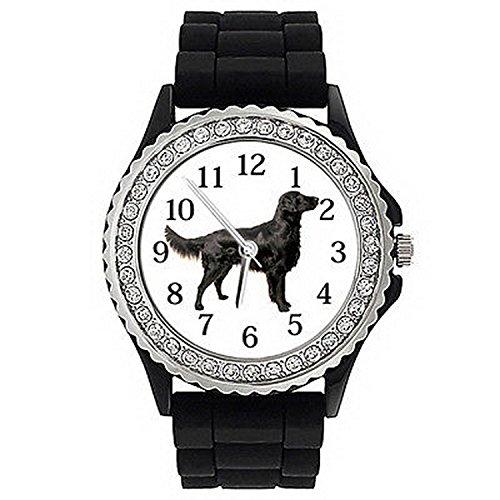 Flat Watch Retriever (JWS0449 Flat-Coated Retriever Dog Crystal Rhinestone Mens Ladies Silicone Watch)