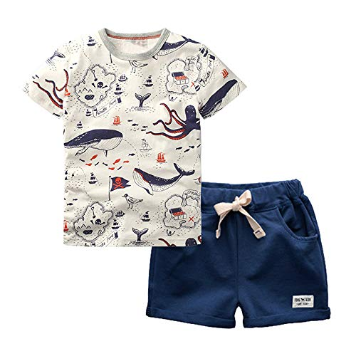 Boy Pirate Print T-Shirt Navy Shorts Set Kid 2Pcs Summer Outfit Clothing Set Whale 2T
