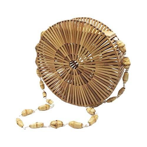 Beach Handbag Beige Bamboo Bag ACMEDE Handmade Handle Women Hollow Tote Top Beige SxqwTY