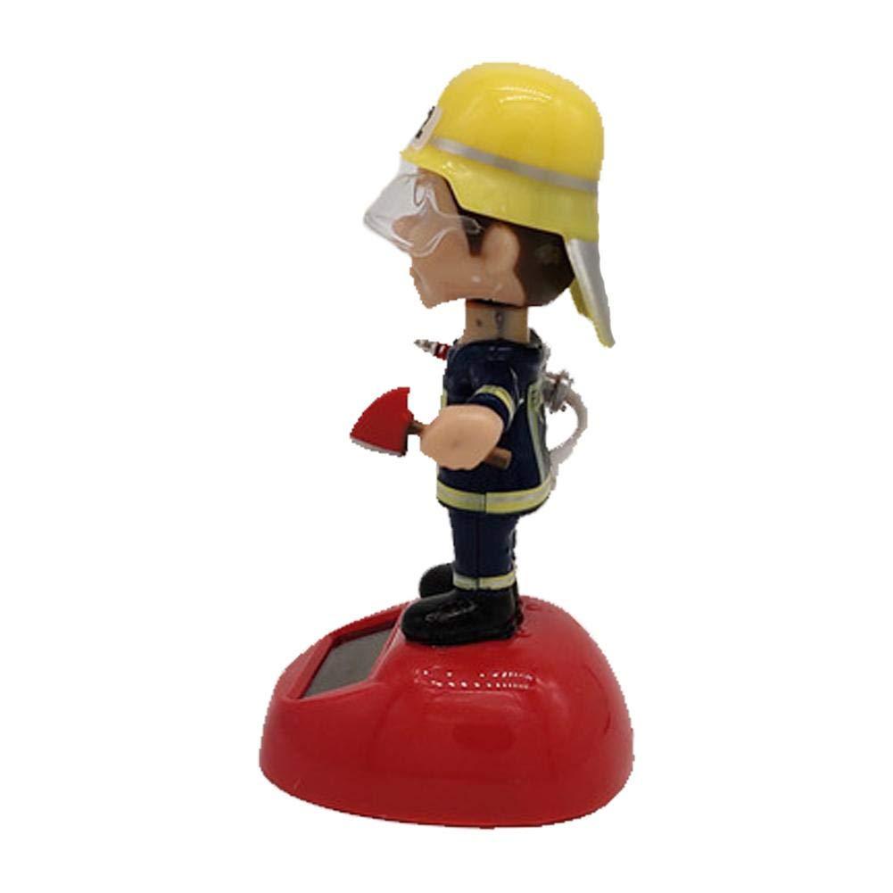 Hete-supply Jouets de Pompier de Voiture de Pompier Secouant la t/ête de poup/ée Solar Powered Swinging Animated Bobble Dancer Decorations