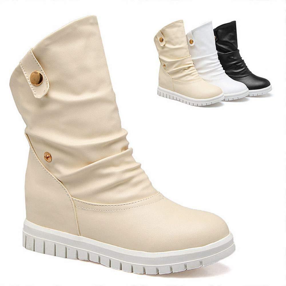 Damenschuhe - Und Hohe Stiefel Im Herbst Und - Winter Britische Niedrige Ferse Warme Stiefel Flache Stiefel 34-43 Polieren 34 1f8fa7