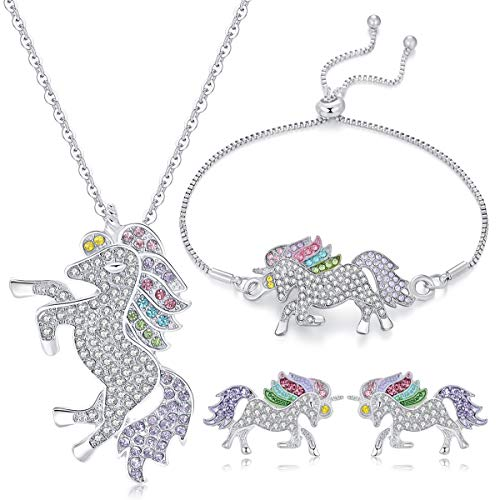 WURUIBO 3 PCS Rainbow Unicorn Jewelry Set for Girls, Fashion Necklace Earring Bracelet Crystal Rhinestone Set(Jewelry -