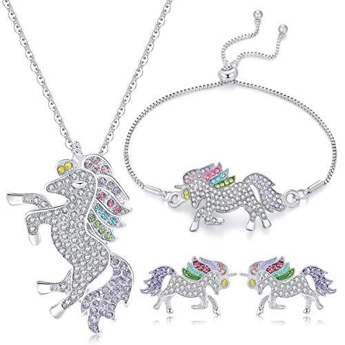 WURUIBO 3 PCS Rainbow Unicorn Jewelry Set for Girls, Fashion Necklace Earring Bracelet Crystal Rhinestone Set(Jewelry Set) from WURUIBO