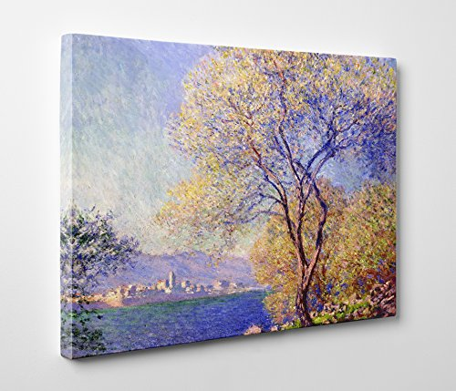 Niwo Art (TM) - Antibes Seen From the Salis Gardens, by Claude Monet - Oil painting Reproductions - Giclee Canvas Prints Wall Art for Home Decor, Stretched and Framed Ready to Hang