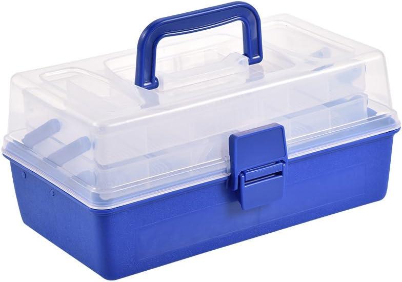 Caja de almacenamiento para aparejos de pesca, 3 capas, manualidades y caja de costura, de plástico, para señuelos