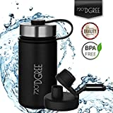 720°DGREE Thermo Water Bottle noLimit – 410ml, Black | Leakproof Stainless Steel Insulated Vacuum Flask + Free Sports Cap | BPA Free | Perfect for Gym, Camping, Outdoor, Hiking, Children, Kids