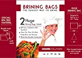 2 Extra Large BPA Free Resealable Brining Bags for Huge Turkey. Tested to FDA Food Standards. Built with Thick Materials and Seams Wild Game, Ham, Roast, Deer, Jerky, Marinade