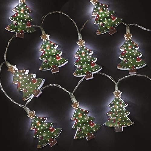 Caja de 10 Metal Árbol de navidad forma Batería LED Navidad Luces: Amazon.es: Hogar