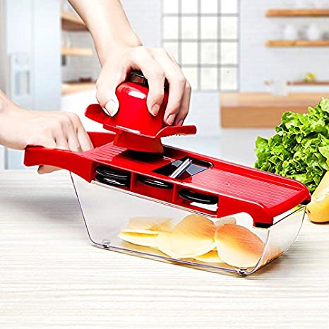 oobest Date mandolina multifuncional de acero inoxidable verduras espiral rebanadora cocina herramienta Five in one rojo