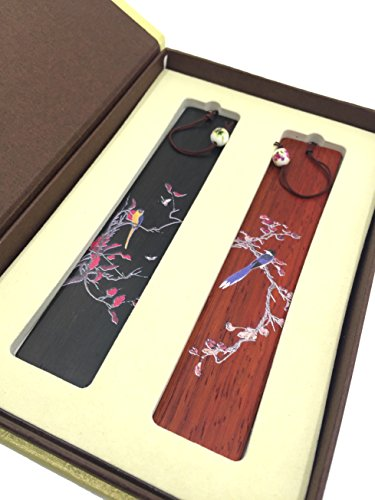 Unique Gift - Olina Handmade Natural Wood Bookmark-best Gifts (Bm011 -2 Kinds of Wood-- Painted Flowers and Birds)