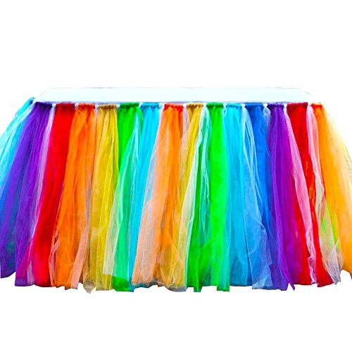 Tu Pew (Adeeing Romantic Mesh and Lace Wedding Party Birthday Supply Dessert Station Gauze Decoration Table Skirts Rainbow Color 36x31Inches)