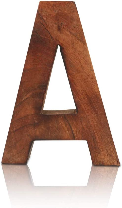 """8"""" Decorative Solid Block Wooden Letters Alphabets Words Natural Finished Wood Freestanding Shelf or Tableware Childrens Baby Names Initials For Bedroom Wedding Birthday Party Home Decor (Letter A)"""