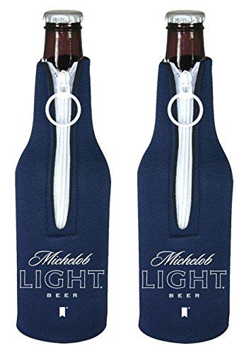 Beer Can or Bottle Beverage Holder Koozie Coolers - Coors, Miller, Budweiser More (Michelob Light - Bottle Suit 2-Pack)