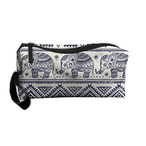 Cosmetic Bags Brush Pouch Portable Makeup Bag Ethnic Elephant Zipper Wallet Hangbag Pen Organizer Carry Case Wristlet Holder Ethnic Stationery