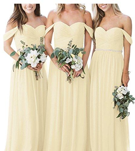 Linie Elegant Lange Lovelybride Abendkleid Chiffon Brautjungfernkleid Trägerlos Gelb A ftZFF4q