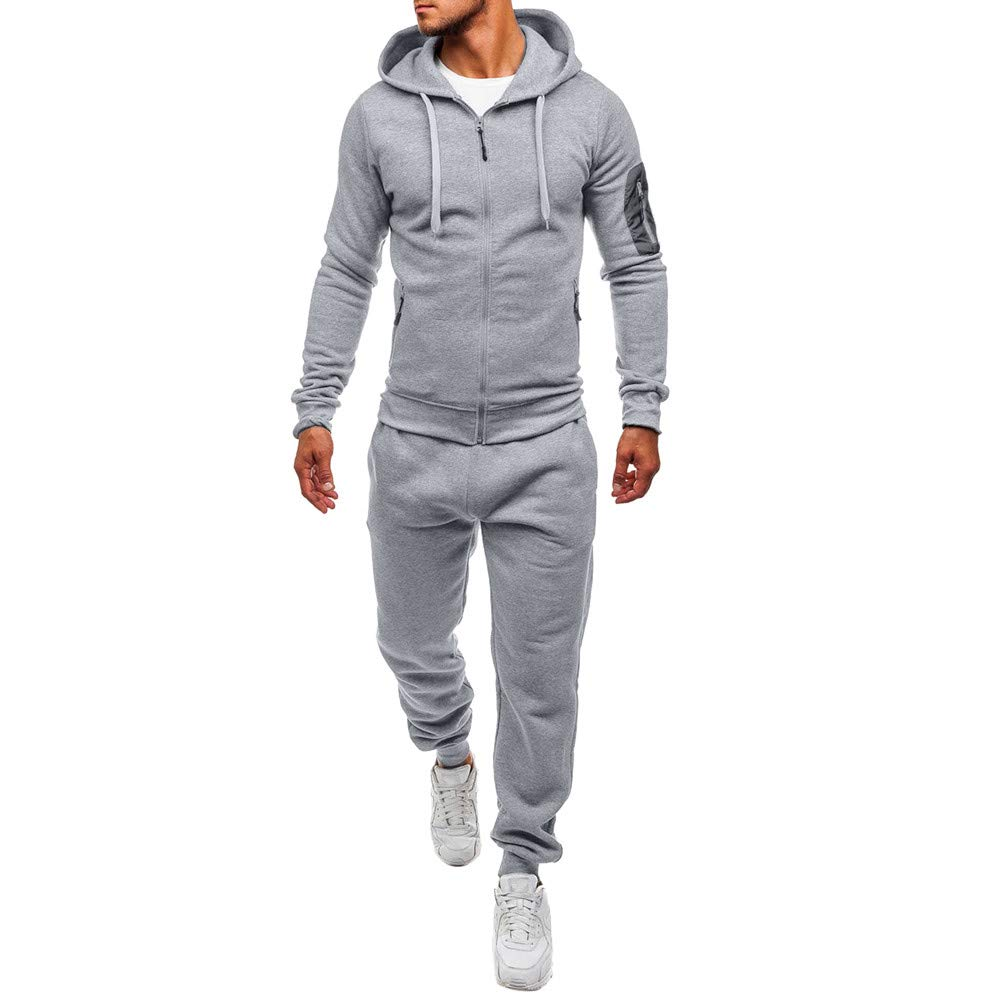 GREFER Men's Autumn Winter Sports Suit Patchwork Sweatshirt Top Pants Sets Tracksuit Gray by GREFER