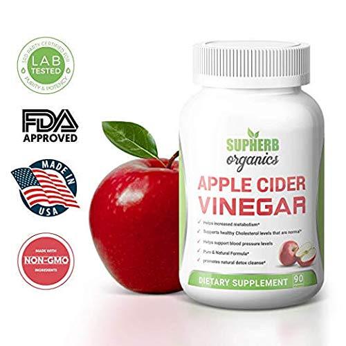 Supherb Organics: 100% Natural Apple Cider Vinegar Pills (1300mg | 90 Capsules) for Natural Detox, Lowering Cholesterol Levels, Lower Blood Sugar & Blood Pressure Support Supplement