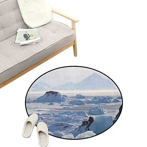 Alaska Round Rug Living Room ,Arctic Winter with Ice Lake Photo from The Northern Part of World Cold Wilderness, Bedrooms Laundry Room Decor 23