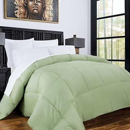 Zen Bamboo Luxury Goose Down Alternative Comforter - All Season Hotel Quality Hypoallergenic Duvet Insert with Cooling Bamboo Blend Fabric - King/Cal King - Sage (Comforter A What Cover Called Is)